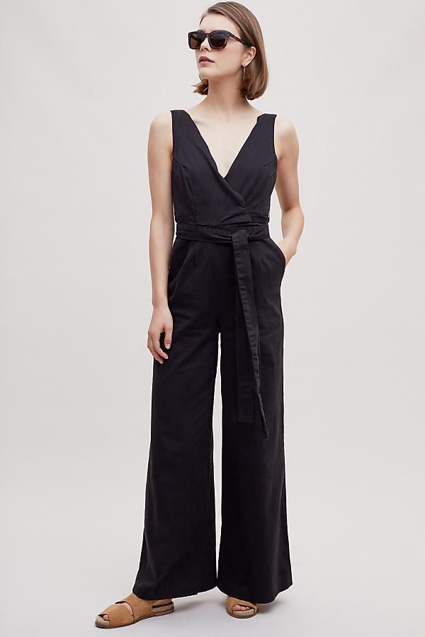 Vedette Scalloped Chino Jumpsuit - Black, Size Uk 8