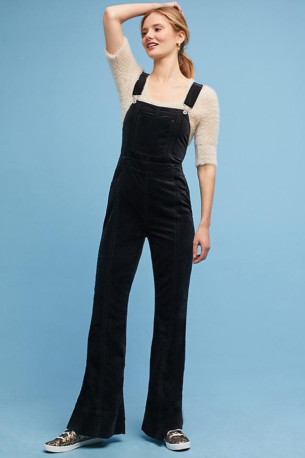 Julianne Velvet Jumpsuit - Black, Size 29 Petite