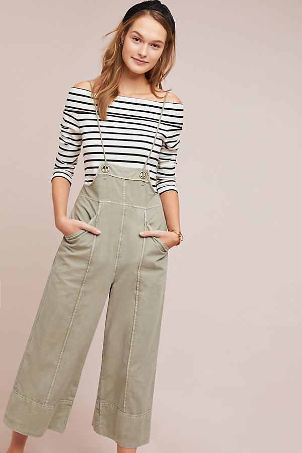 Pilcro Bibbed Trousers - Green, Size Xs
