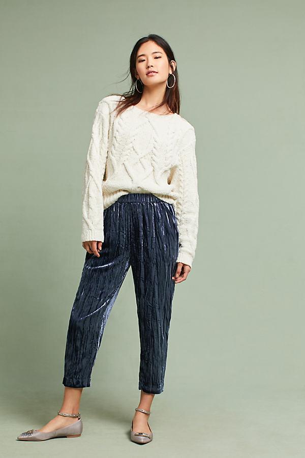Kinney Velvet Cropped Trousers - Navy, Size L Petite