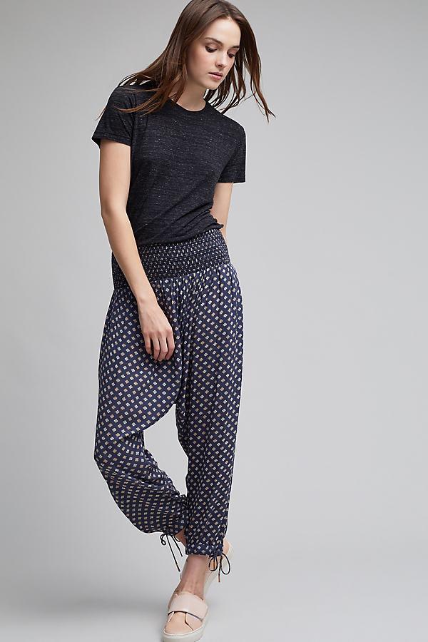 Belsha Printed Harem Trousers - Blue Motif, Size M