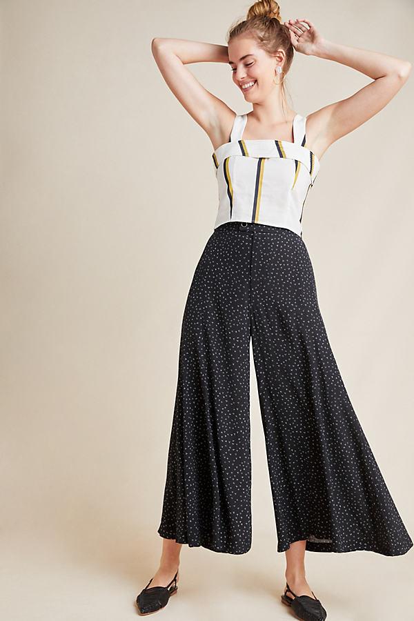Skirted Wide-Leg Trousers - Black, Size Uk 8
