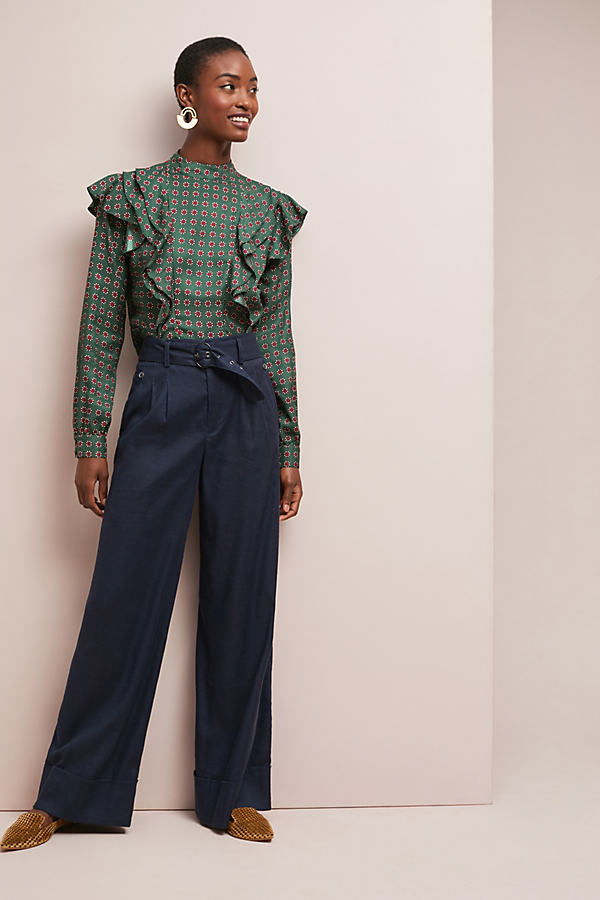 Brexton Belted Wide-Leg Trousers - Blue, Size Uk 14