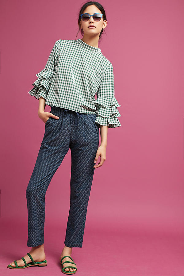 Slide View: 1: Triangle Tapered Pants, Navy