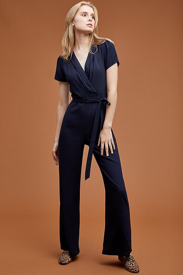 Tie Waist Wrap Jumpsuit - Blue, Size Xl