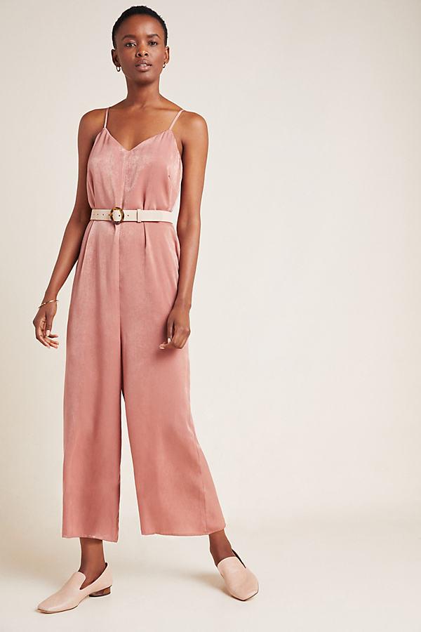 Rosa Satin Jumpsuit - Pink, Size Xs