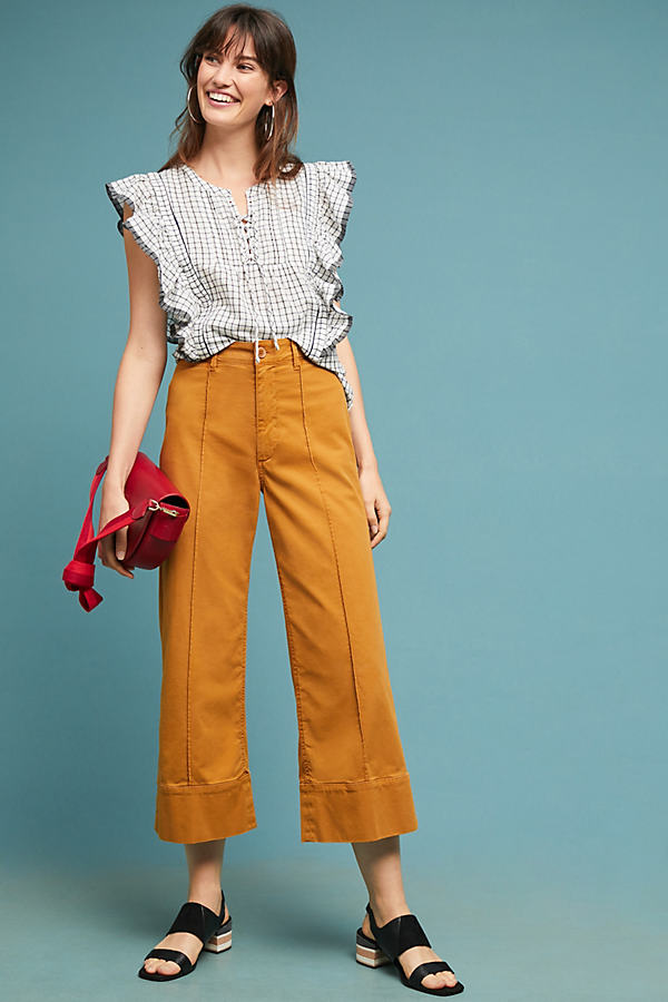 Cropped Wide-Leg Chino Trousers - Yellow, Size 27