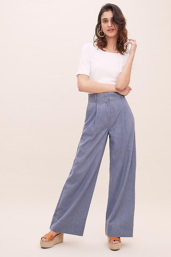 Kylie Wide-Leg Trousers - Blue, Size Uk 12