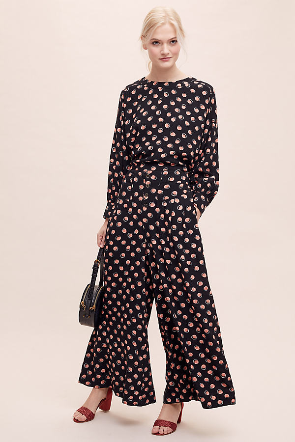 Spot-Print Wide-Leg Co-Ord Trousers - Assorted, Size Uk 12