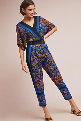 Slide View: 1: Scarf-Printed Jumpsuit