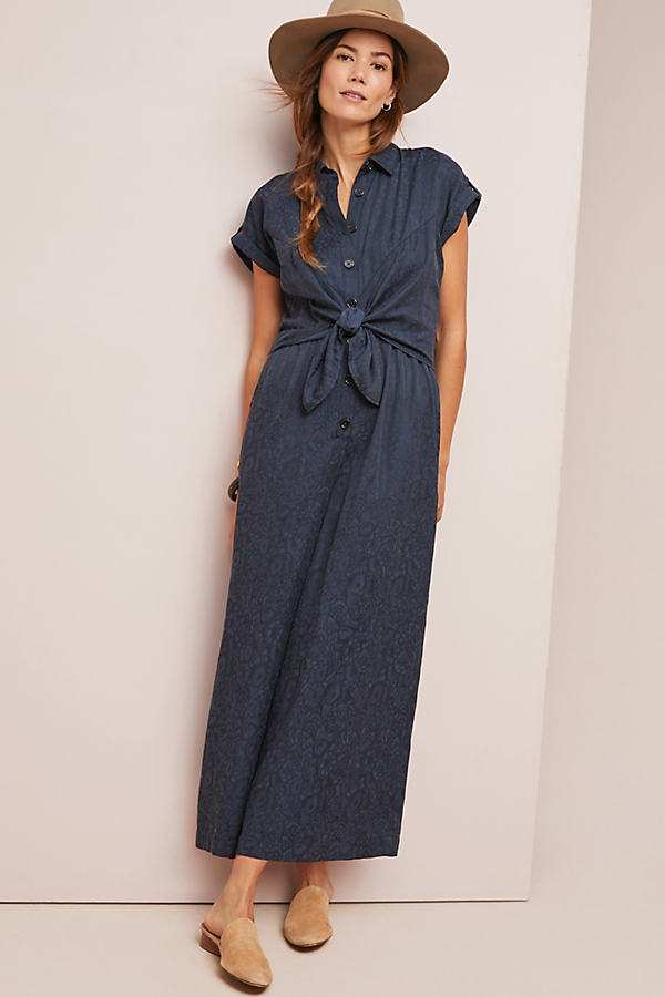 James Tie-Waist Jumpsuit - Blue, Size Uk 12