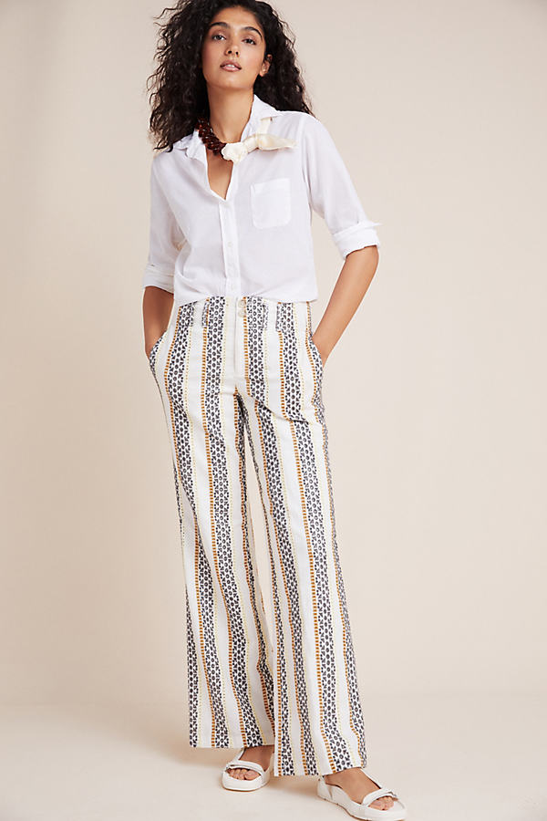 Eyelet-Striped Trousers - Assorted, Size Uk 14
