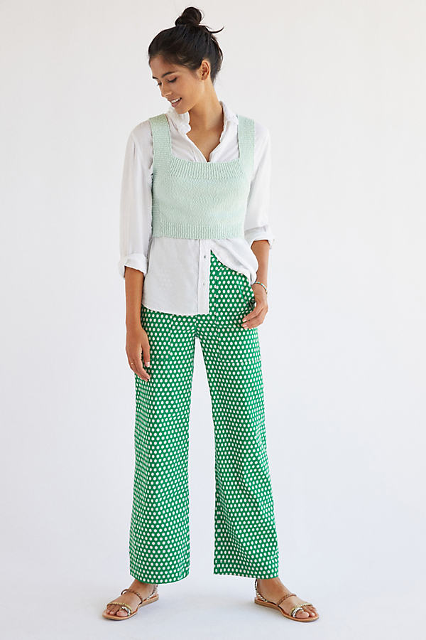 Maeve Arlo Cropped Wide-Leg Trousers