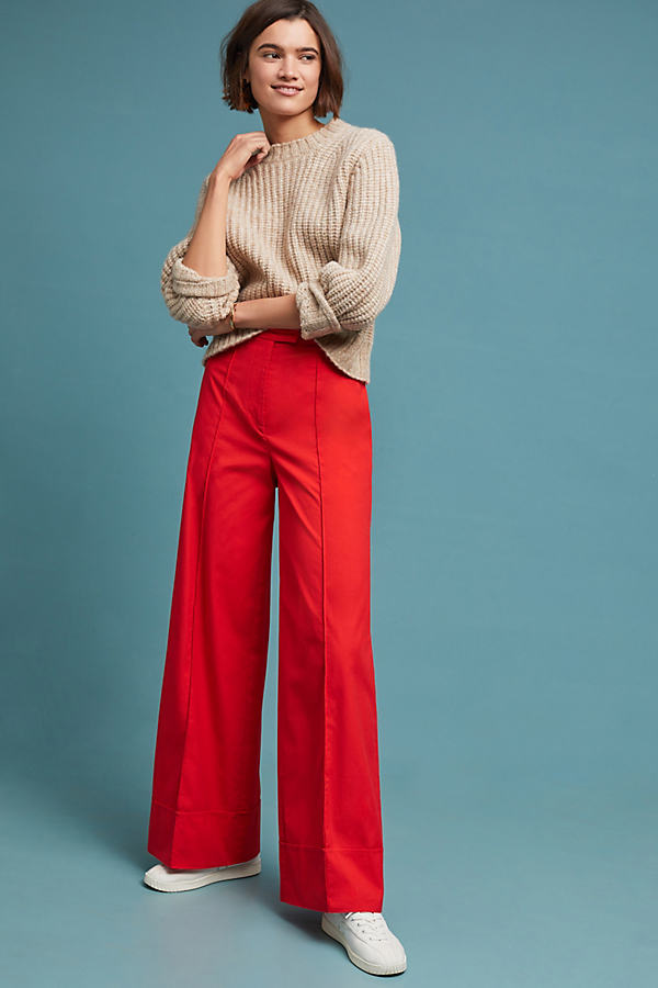 Poplin Wide-Leg Trousers - Red, Size Uk 12