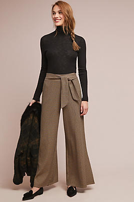 Slide View: 1: Houndstooth Wide-Leg Pants