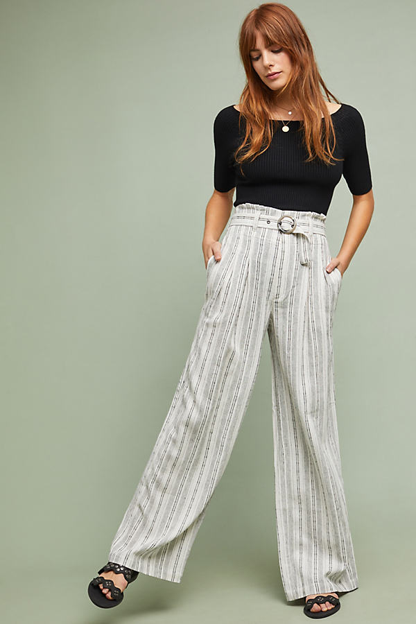 Striped Paperbag-Waist Trousers - Black, Size Uk 8