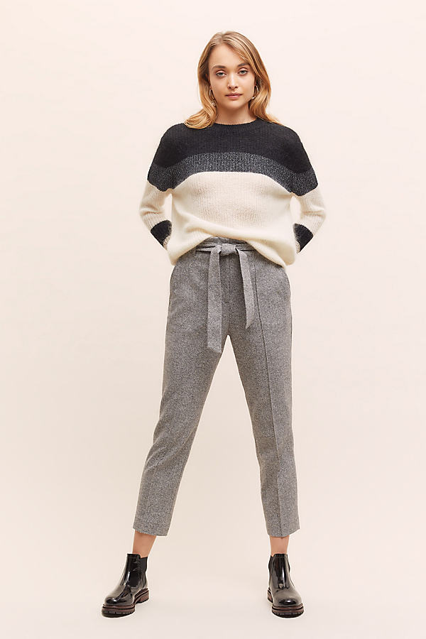 Tweed Paperbag-Waisted Trousers - Grey, Size Uk 12