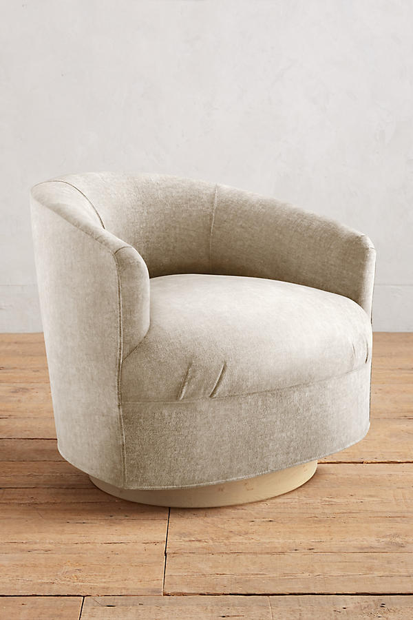 Slide View: 1: Slub Velvet Amoret Swivel Chair