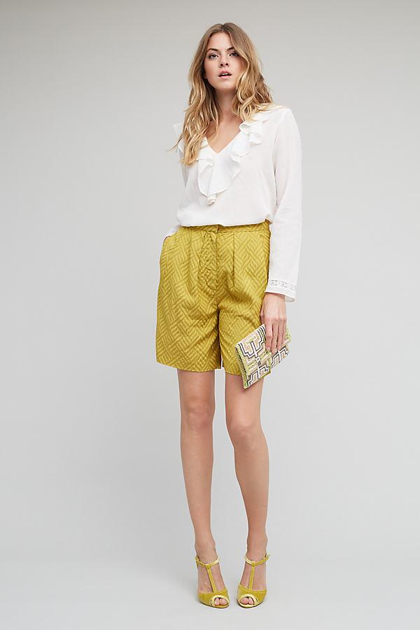 Ciara Chevron Shorts, Yellow - Yellow Motif, Size Uk 6