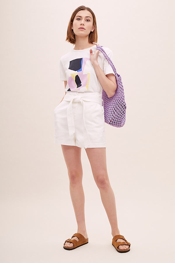 Paperbag-Waist Denim Shorts - White, Size L