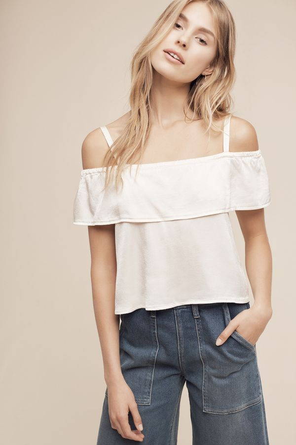 Lacausa Cropped Open-Shoulder Top