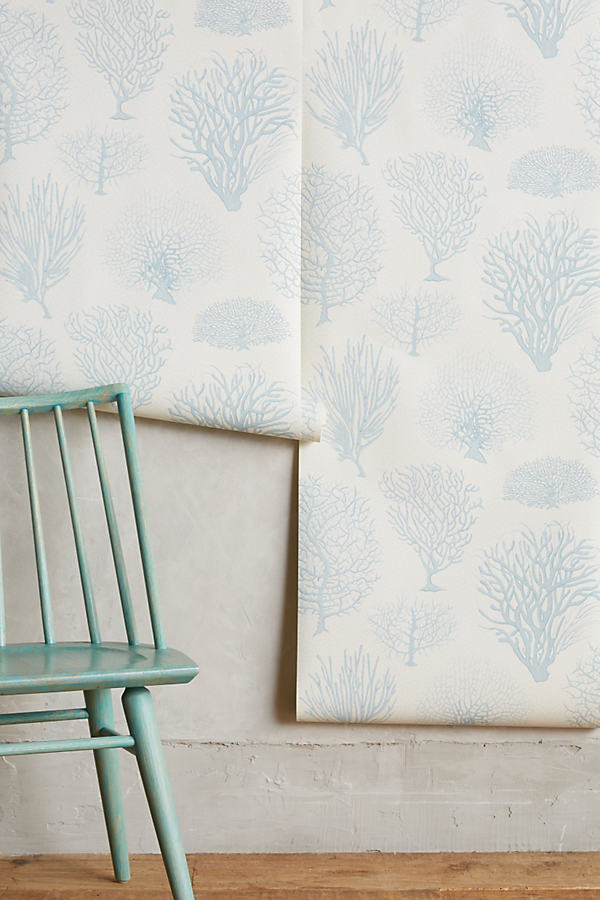Sea Fern Wallpaper - Blue