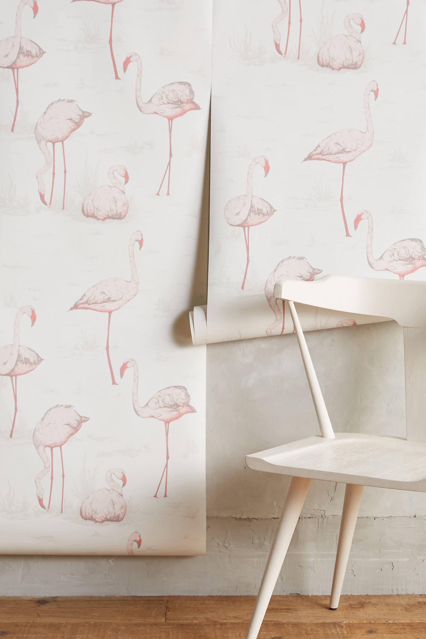 Wading Flamingos Wallpaper