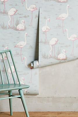 Slide View: 1: Wading Flamingos Wallpaper