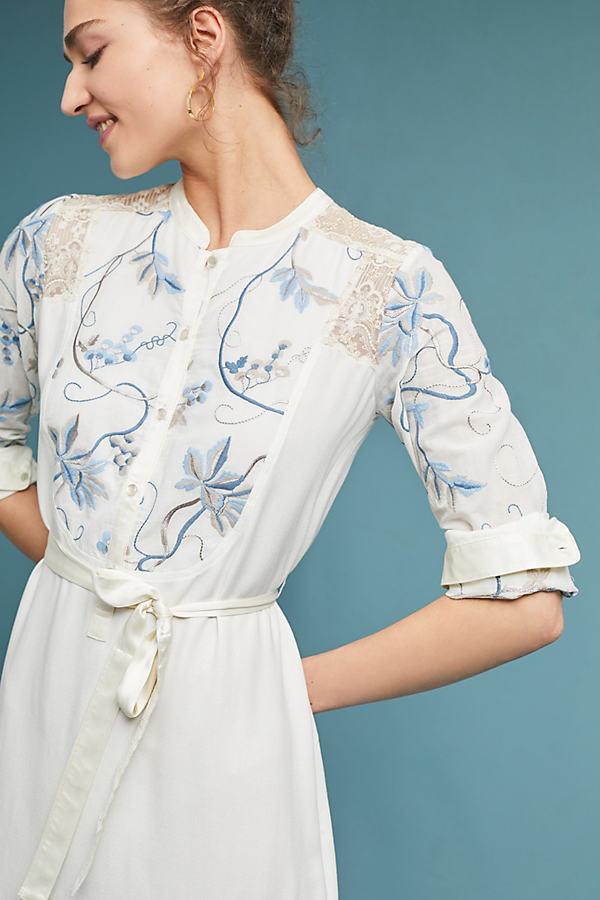 Amarante Embroidered Shirtdress - White, Size Xl