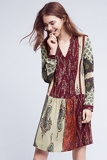 Patchwork Print Shirtdress