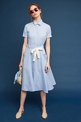 Slide View: 1: Delrey Tie-Waist Shirtdress