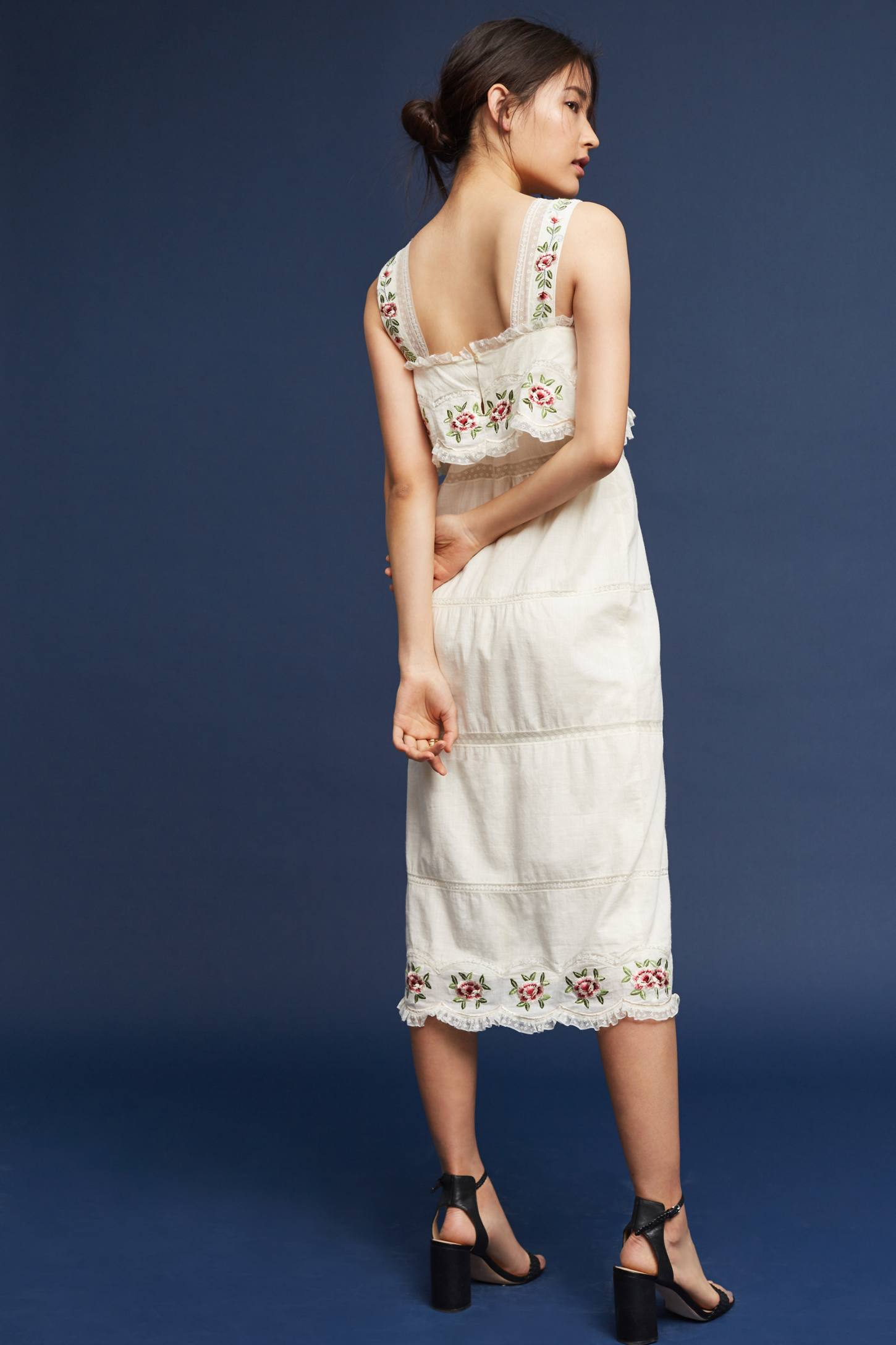 Slide View: 2: Embroidered Cotton Midi Dress
