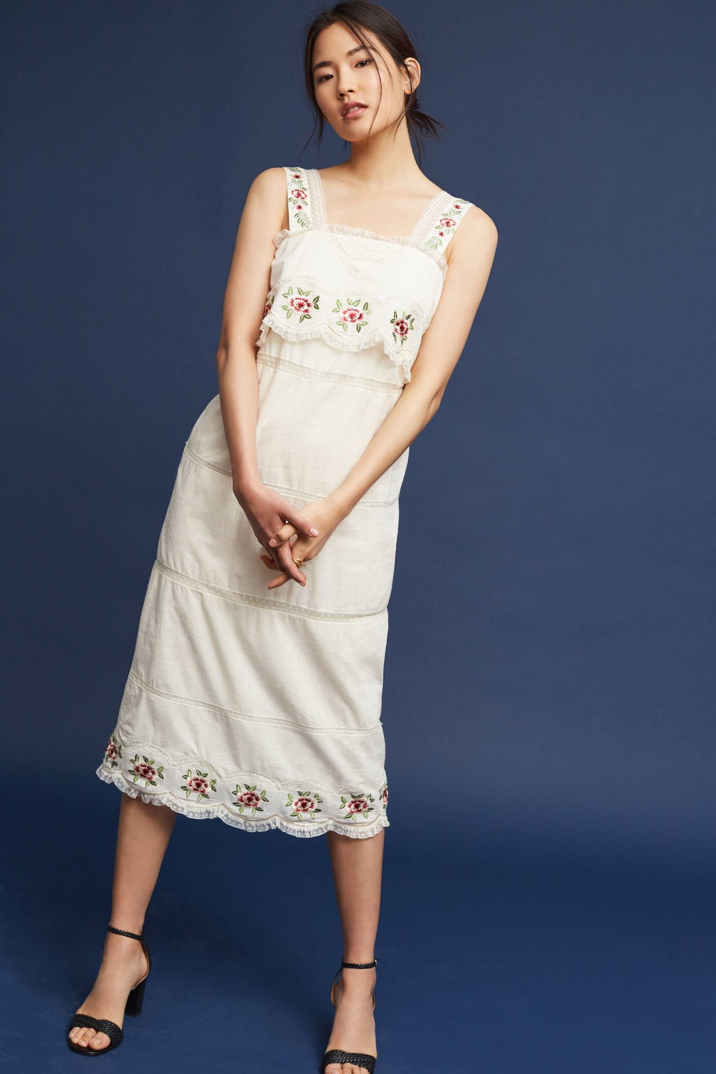 Slide View: 4: Embroidered Cotton Midi Dress