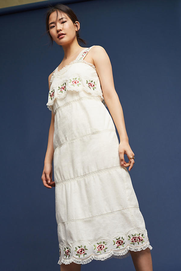 Slide View: 1: Embroidered Cotton Midi Dress