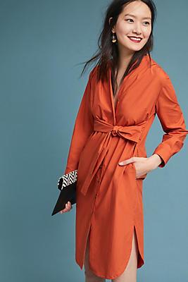 Slide View: 1: Poplin Tie-Front Dress
