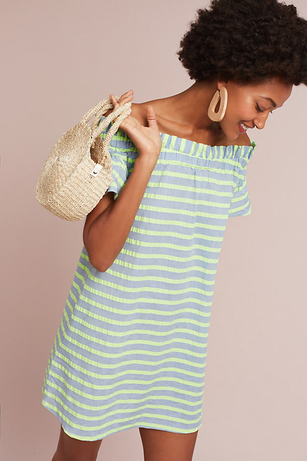 Bayside Off-The-Shoulder Dress, Green - Lime, Size Xl