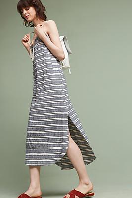Slide View: 1: Strapless Yarn-Dyed Midi Dress