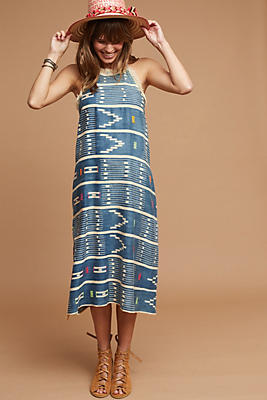 Slide View: 1: One-Of-A-Kind Ikat Fringed Dress