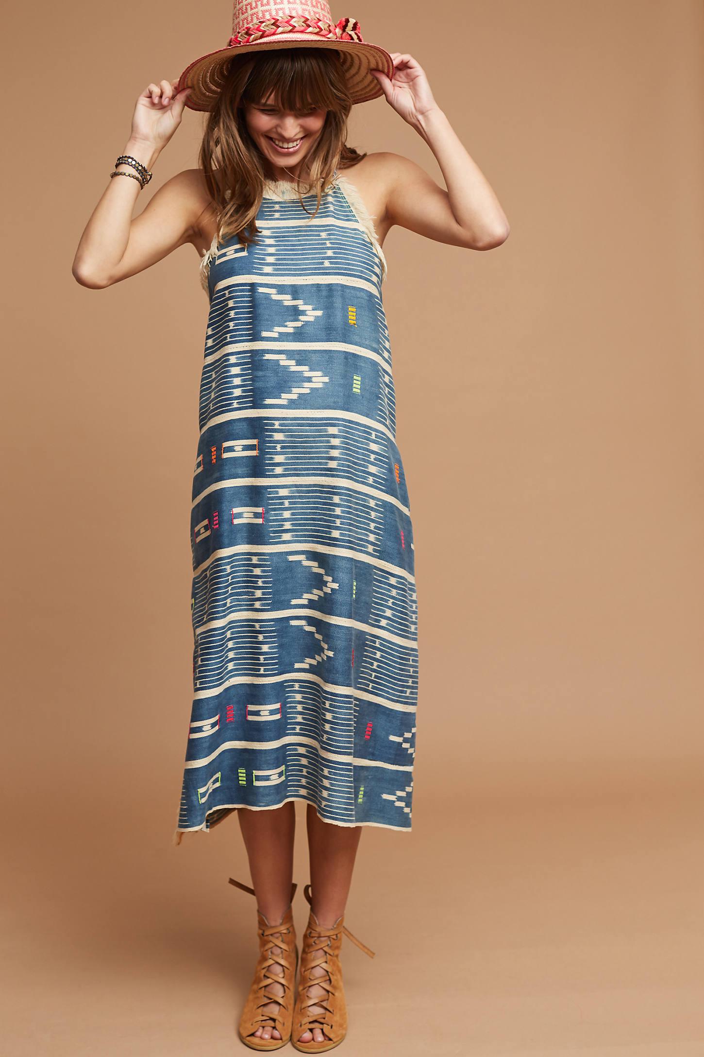 One-Of-A-Kind Ikat Fringed Dress