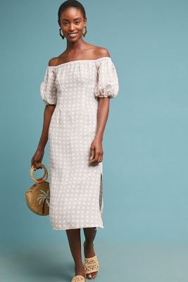 Linen Gingham Off The Shoulder Dress by Winston White