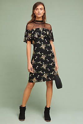 Slide View: 1: Illusion Embroidered Lace Shift Dress