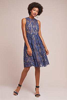 Slide View: 1: High-Neck Lace Dress