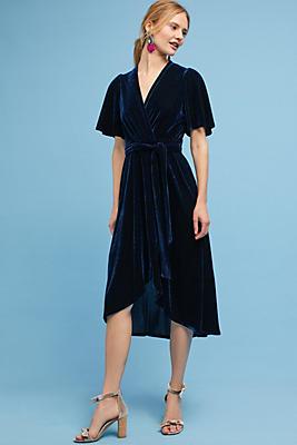 Slide View: 1: Velvet Wrap Midi Dress
