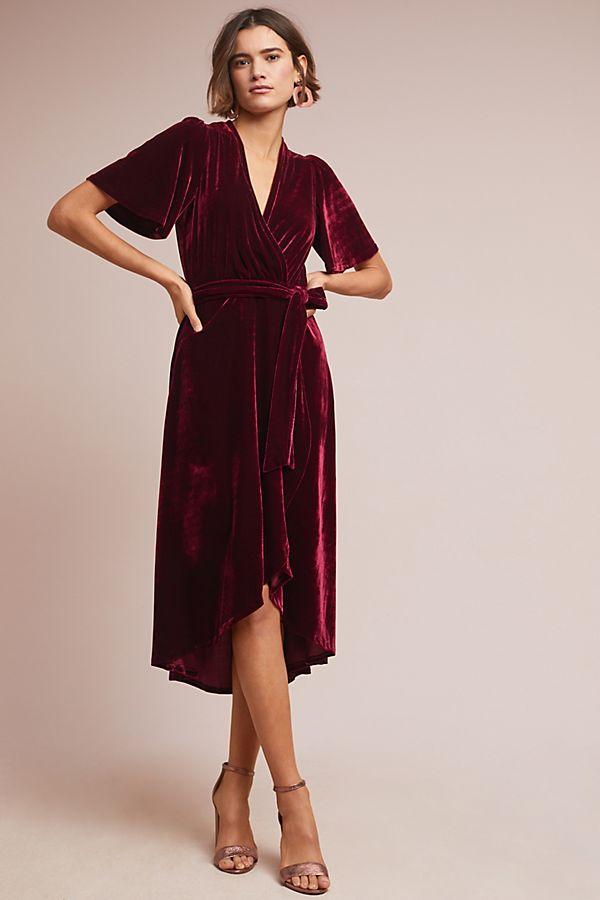 Fiorenza Velvet Wrap Dress Anthropologie