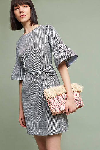 Gingham Flutter-Sleeve Tunic Dress