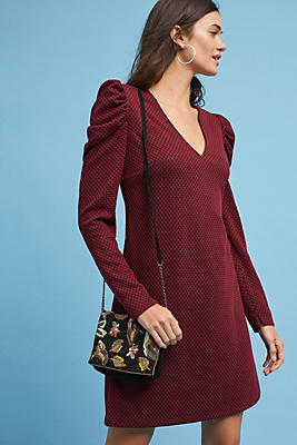 Slide View: 1: Ruched-Sleeve Knit Dress