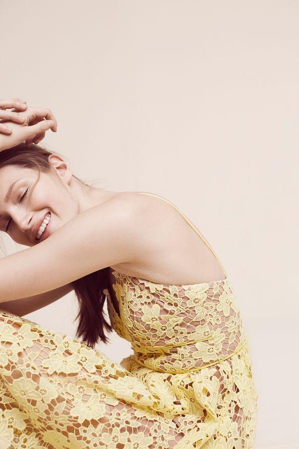Donna Morgan Laced Blossoms Halter Dress