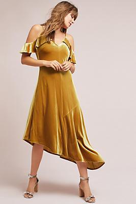 Slide View: 1: Velvet Open-Shoulder Dress