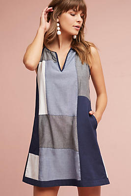 Slide View: 1: Patched Indigo Tunic Dress