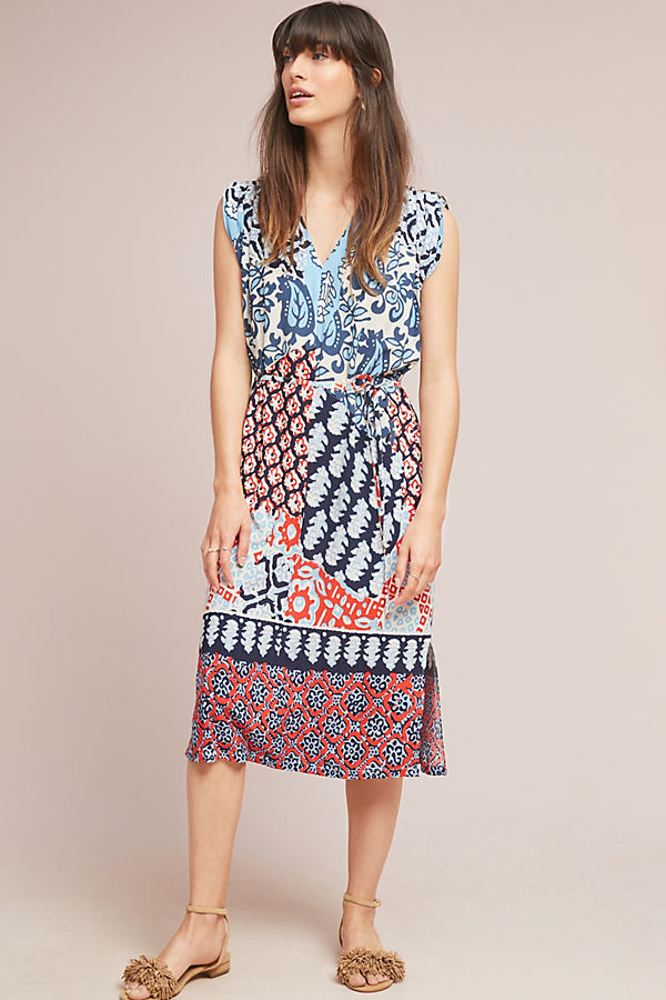 Patchwork Midi Dress - Assorted, Size Xs